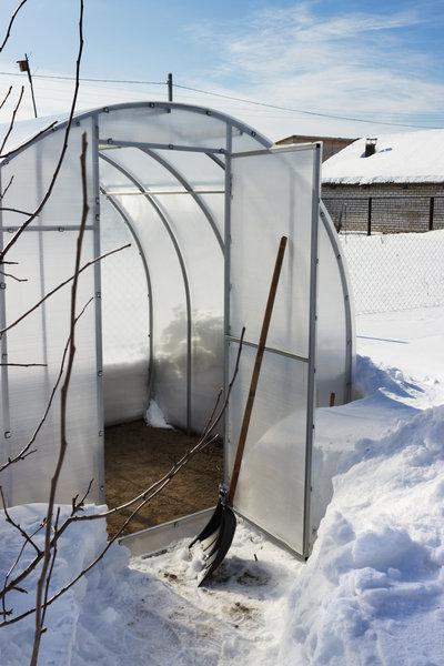 Gewächshaus Winter Schnee