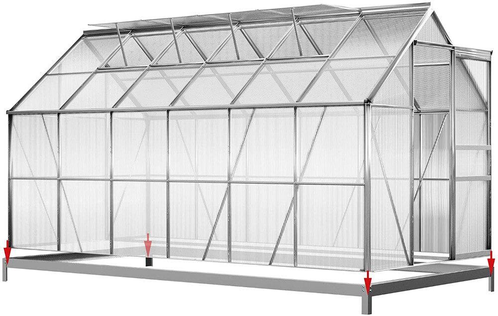 Deuba Aluminium Gewächshaus 7,2m² mit Fundament